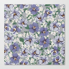 seamless pattern with viola flowers Canvas Print