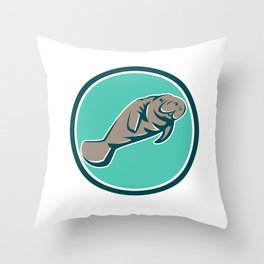 Manatee Sea Cow Circle Retro Throw Pillow