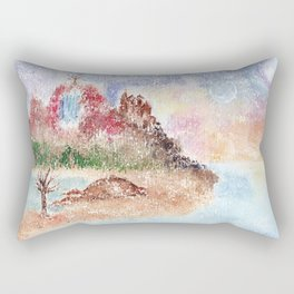 Mysterious Island Watercolor Illustration Rectangular Pillow