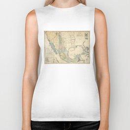 Vintage Map of Mexico (1847) Biker Tank
