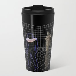 Man in a room with statues and cats Metal Travel Mug