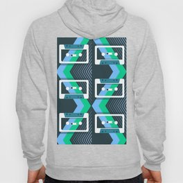 Mix Tapes Pattern Teal Blue Green Hoody