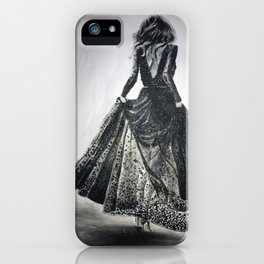Lace Dress in Black and White iPhone Case