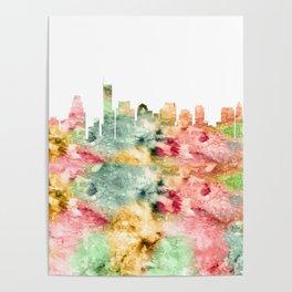Boston City Skyline Massachusetts Poster