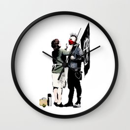 Banksy, Anarchist Punk And His Mother Artwork, Posters, Prints, Bags, Tshirts, Men, Women, Kids Wall Clock
