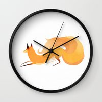 kitsune Wall Clocks featuring Kitsune by Amy S.