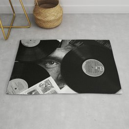 Long-playing Records and Covers in Black and White - Good Memories #decor #society6 #buyart Rug