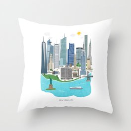 New York City Illustration Throw Pillow