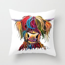 HiGHLaND CoW PRiNT SCoTTiSH ' NeLLY ' BY SHiRLeY MacARTHuR Throw Pillow
