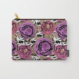 Brown purple flower Carry-All Pouch