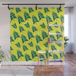 Leaves in Yellow Wall Mural