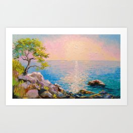 Cote d'azur by the sea Art Print