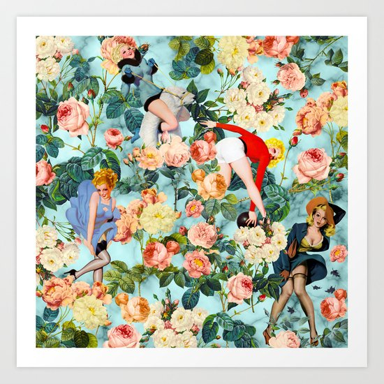 Floral and Pin Up Girls II Pattern Art Print