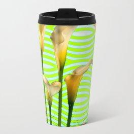 Golden Shaded Calla Lily Green Art Travel Mug