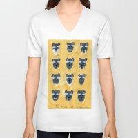 schnauzer V-neck T-shirts featuring Schnauzer by Sonia Ku