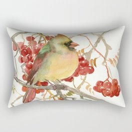 Cardinal Bird and Berries Rectangular Pillow