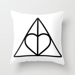 The Deathly Hallows - Heart Throw Pillow