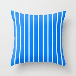 Vertical Lines (White/Azure) Throw Pillow