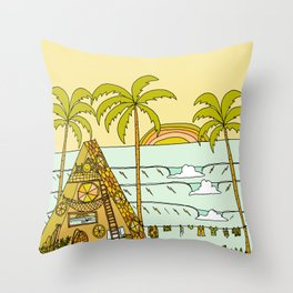 a frame dream home in paradise simple life by surfy birdy Throw Pillow