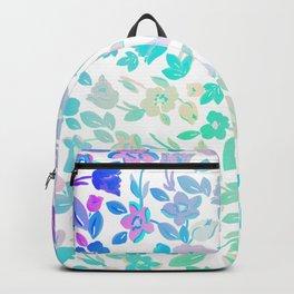 Modern pink teal ombre floral illustration pattern Backpack