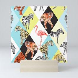 Cool Vintage Retro Zebra Tiger Cheetah Flamingo Wild Safari Animal Lover Print Mini Art Print
