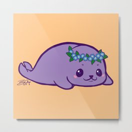 Baby Seal has Forget Me Nots Metal Print