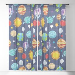 Space Pattern, Planets, Astronomy, Cosmos, Galaxy Sheer Curtain
