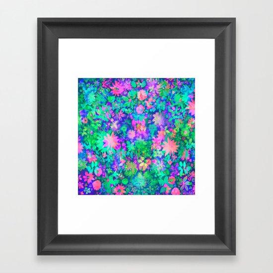 Fluro Floral Framed Art Print