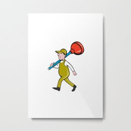 Plumber Carrying Plunger Walking Isolated Cartoon Metal Print
