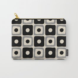 Mid Century Modern Square Dot Pattern 771 Black and Gray Carry-All Pouch