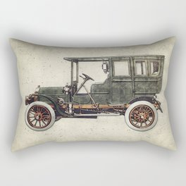 Vintage retro car hatching hand drawing. Green antique automobile over hatched background. Rectangular Pillow