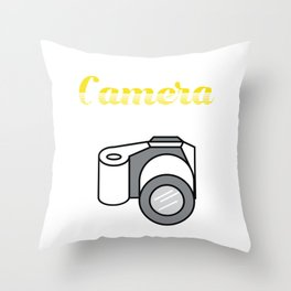 Selfie Addict - Taking a Selfportrait With Your Mobile Phone Camera A Camera T-shirt Design Picture Throw Pillow