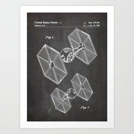 Starwars Tie Fighter Patent - Tie Fighter Art - Black Chalkboard Art Print