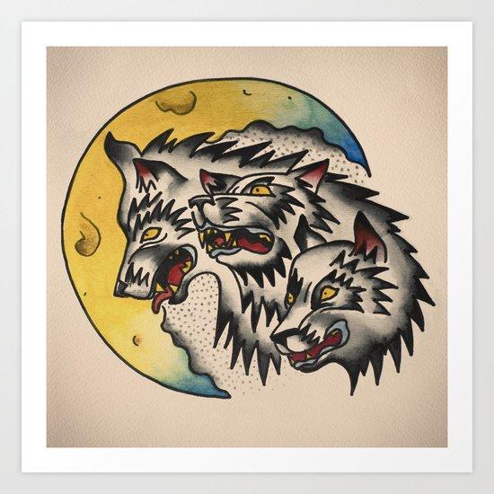 Wolves tattoo flash Art Print