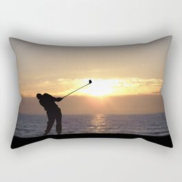 Playing Golf At Sunset Rectangular Pillow