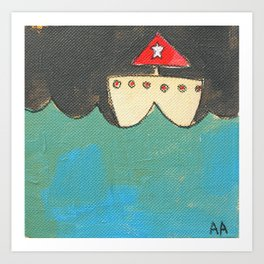 Red Sailboat Art Print