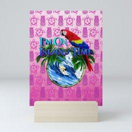 Pink Tiki Island Time Surfing Mini Art Print