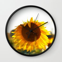 Sunflowers at sunset time Wall Clock