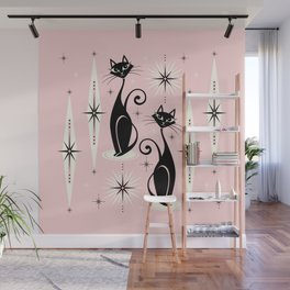 Mid Century Meow Retro Atomic Cats ©studioxtine Wall Mural