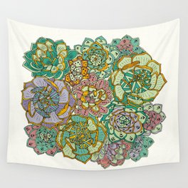 Blooming Succulents Wall Tapestry