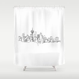 Seattle Skyline Drawing Shower Curtain