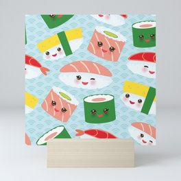 pattern Kawaii funny sushi rolls set with pink cheeks and big eyes, emoji Mini Art Print