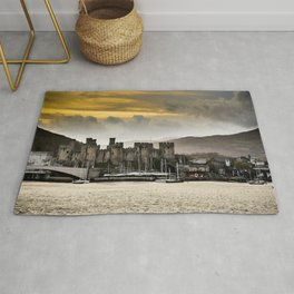 Sunset at Conwy Castle, North Wales Rug