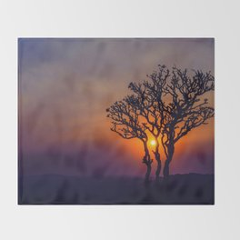 A Sunset Silhouette in Hampi, India Throw Blanket