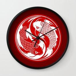 Red and White Yin Yang Koi Fish Wall Clock