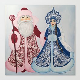 Father Frost and Snow Maiden in petrykivka style Canvas Print