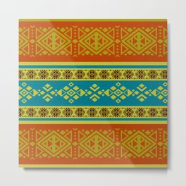 Mexican /Tribal Style pattern -Orange and Blue Metal Print