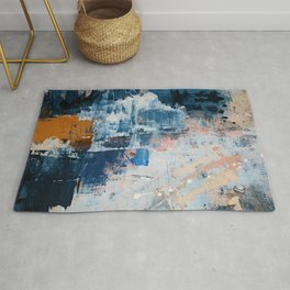 Shapes in the Clouds: a vibrant mixed-media piece in blues and pinks by Alyssa Hamilton Art Rug