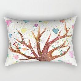 Heart Tree Watercolor Illustration Rectangular Pillow