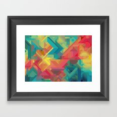 VIBRANT ABSTRACT MULTI COLOR GEOMETRIC PATTERN GRAPHIC Framed Art Print